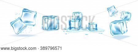 Realistic Ice Cubes Set. Collection Illustration Of Realism Style Drawn Crystal Fluid Pieces With Wa