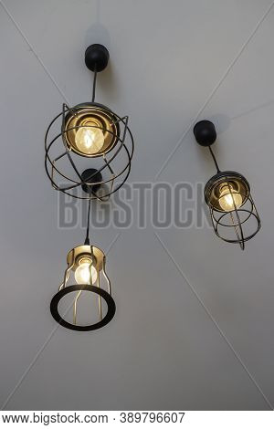 Lighting Decoration With Vintage Ceiling Lights, Stock Photo