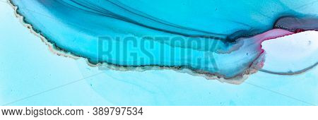 Abstract Teal Background. Watercolour Illustration. Blue Water Art Texture. Contemporary Wave Paint.