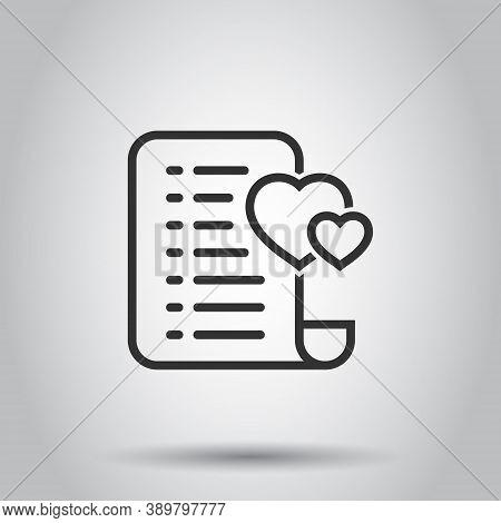 Wishlist Icon In Flat Style. Like Document Vector Illustration On White Isolated Background. Favorit