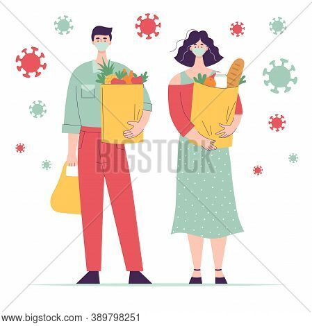 Woman And Man In Medical Mask With Paper Bag Groceries.full Length Character.concept Shopping For Gr