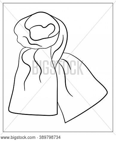 Neck Scarf Linear Icon. Cold Weather Cloth. Winter Garment. Common Cold Aid. Vector Isolated Outline