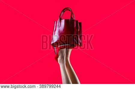 High Heel Shoes. Red Leather Bag. Beautiful Legs Woman. Stylish Red Female Leather Bag. Perfect Fema