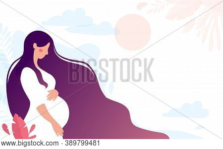 Pretty Young Pregnant Woman. Pregnancy And Motherhood. Mommy On The Background Of Nature, Simple Lan