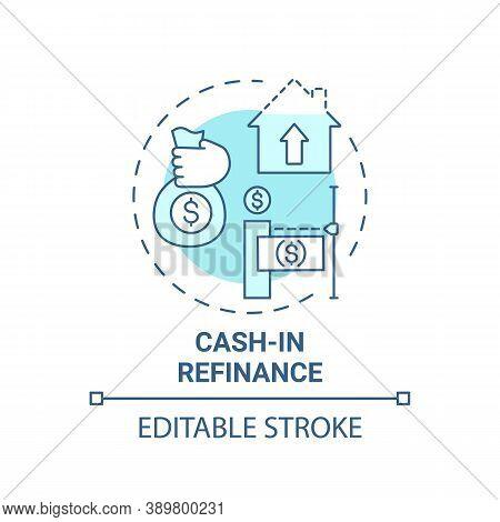 Cash-in Refinance Concept Icon. Mortgage Refinance Type Idea Thin Line Illustration. Saving Homeowne