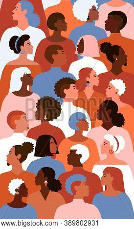 Illustration Of Equality People With Different Gender And Colour Of Skin In Society. Profile Of Mult