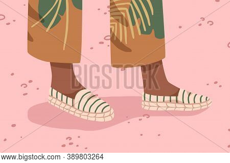 Woman Espadrilles With Canvas Platform. Female Feet In Comfortable Textile Eco Footwear. Modern Fabr