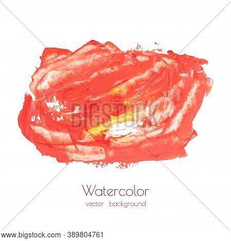 Orange, Yellow, Red Marble Hand Painted Background Texture. Abstract Oil Backdrop On Canvas With Dry