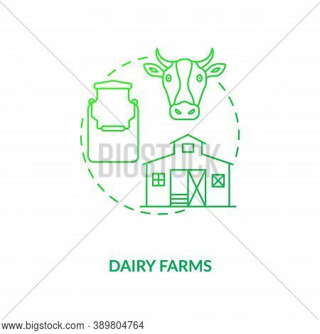 Dairy Farms Concept Icon. Farm Production Types. Fresh Sour Cream Production. Organic Cheesy Product