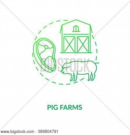 Pig Farms Concept Icon. Farm Production Types. Healthy Organic Meat. Mamal Ranch Farming. Animal Foo