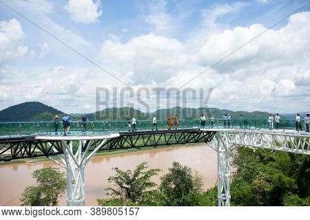 People Walk The Sky Walk, A New Landmark Of The Mekong River. Chiang Khan District, Loei Province, T