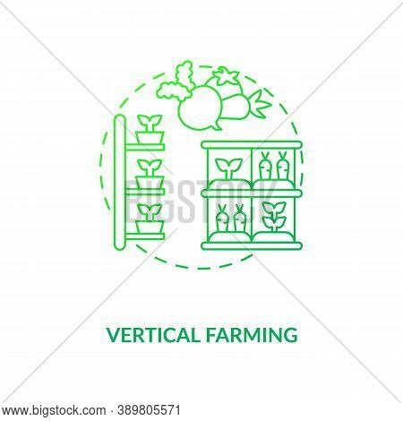 Vertical Farming Concept Icon. Growing Crops. Practice Of Growing Crops Vertically Stacked. Urban Fa