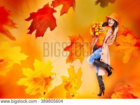 Autumn sale banners leaves background with beautiful woman wear in coat and hat, high heel boots. Girl holding maple bouquet in hand.