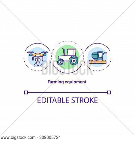 Farming Equipment Concept Icon. Agricultural Machinery Idea Thin Line Illustration. Tractor. Harvest