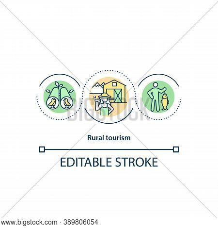 Rural Tourism Concept Icon. Ecotourism Idea Thin Line Illustration. Rural Lifestyle. Fishing. Farmst