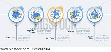 Farm Production Types Vector Infographic Template. Farm Types Presentation Design Elements. Data Vis