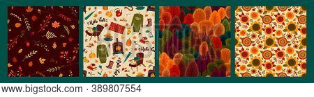 Set Of Autumn Seamless Patterns. Vector Design For Card, Poster, Flyer, Web And Other.