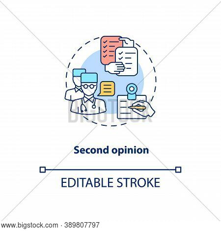 Second Opinion Concept Icon. Telemedicine Pros. Advantages Of Online Treatment. Healthcare System Id