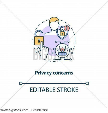 Privacy Concerns Concept Icon. Telemedicine Challenges. Patient Confidential Information. Health Tre