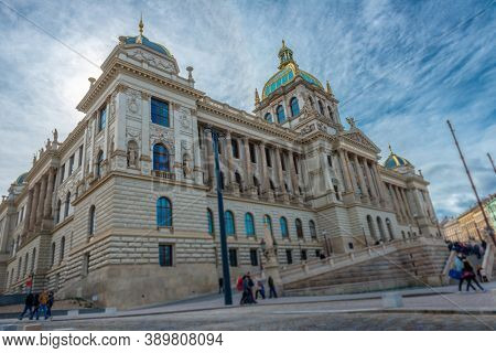 Neoclassical building of the Czech National Museum in famous Wenceslas square in Prague