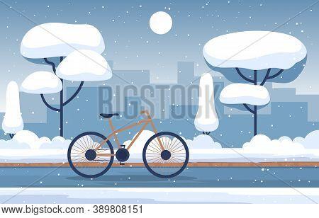 Winter Snow Tree Snowfall City Bike Landscape Illustration