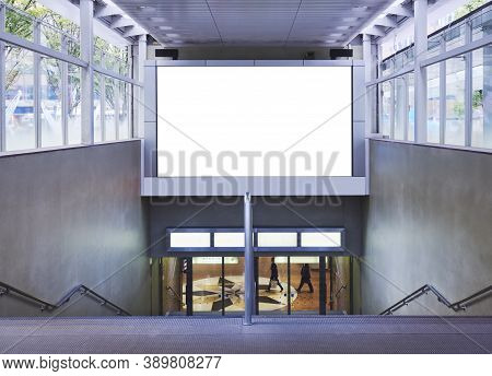Mock Up Banner Blank Media Advertisement Indoor Building Stairs To Underground Level