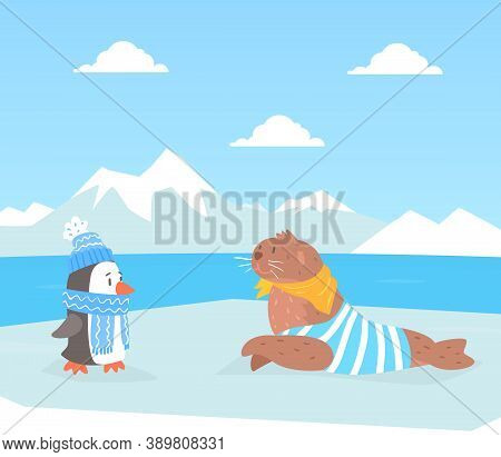 North Pole Arctic Animals On Polar Landscape, Cute Seal And Penguin Characters Cartoon Vector Illust
