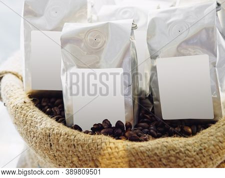 Coffee Beans Package Mock Up Label Blank Logo Coffee Shop Product Display