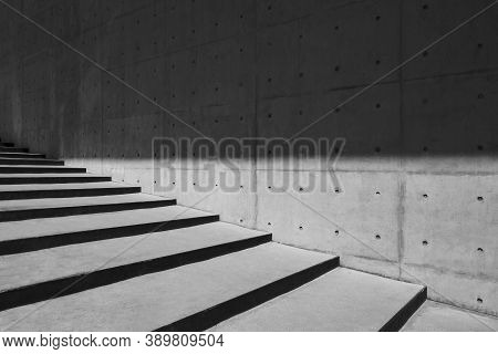 Architecture Details Cement Concrete Wall Stairs Modern Building Shade And Shadow Lighting