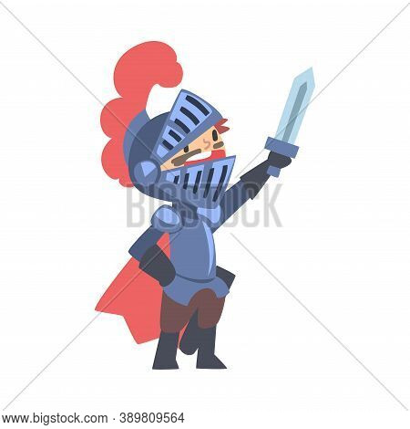 Knight Boy Character In Armour With Sword Cartoon Style Vector Illustration