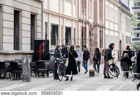 Strasbourg, France - Oct 10, 2020: People Meeting In Central Strasbourg Wearing Protective Masks Dur