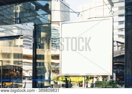 Mock Up Signboard Blank Square Frame Shop Display Modern Building Wall