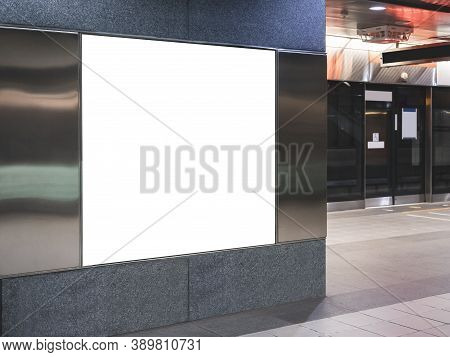 Mock Up Banner Blank Board Square Lightbox Indoor Public Building