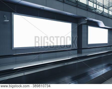 Mock Up Banner Blank Media Advertisment Indoor Public Building