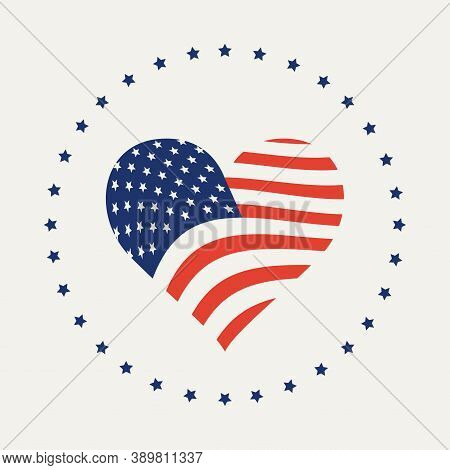 Usa Flag In A Shape Of Heart Isolated On A Light Background. Simple Flat Vector Illustration, Icon,
