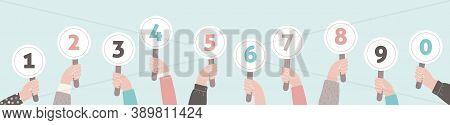 Hands Holding Judges Score. Jury Hold Scorecard. Vector Feedback Cartoon Flat Collection.