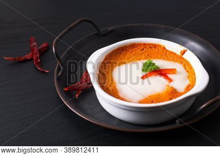 Asian Food Concept Thai Steamed Curried Fish, Steamed Red Curry Custard Hor Mok In White Ceramic Cup