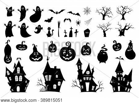 Set Of Elements For Halloween On A White Background. Collection Of Black Silhouettes. Ghosts, Haunte