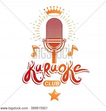 Studio Microphone Audio Equipment Composed With Royal Crown And Musical Notes, Can Be Used As Vector