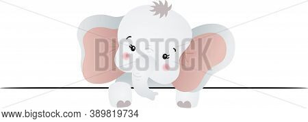 Scalable Vectorial Representing A Curious Baby Elephant Peeking Out, Element For Design, Illustratio