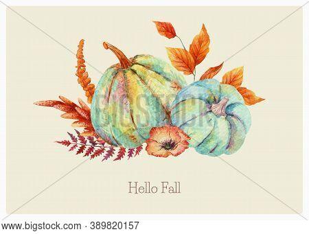 Watercolor Boho Fall Floral Blue Pumpkins Bouquet. Thanksgiving Decor, Autumn Terracotta, Orange Mus