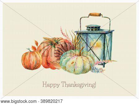 Watercolor Fall Floral Orange Blue Pumpkins Bouquet Vintage Rusty Lantern. Thanksgiving Decor, Autum