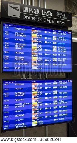 Tokyo, Japan - April 8, 2015. Departure board at Narita Airport, Tokyo. Narita airport is an international airport serving the greater Tokyo area.