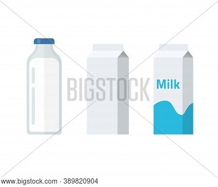 Milk Bottle And Carton Package Box Vector Flat Cartoon Illustration, Dairy Products Package Blank Em