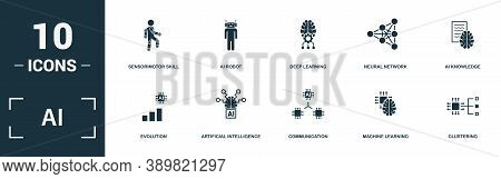 Ai Icon Set. Monochrome Sign Collection With Evolution, Artificial Intelligence, Communication, Mach