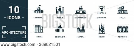 Architecture Icon Set. Monochrome Sign Collection With Office, Government, Factory, Church And Over