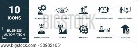 Business Automation Icon Set. Monochrome Sign Collection With Time Management, Hidden Mechanism, Goa