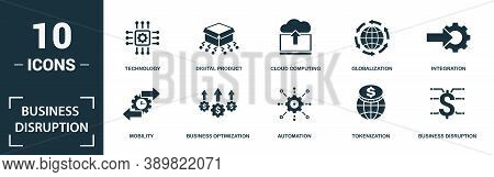 Business Disruption Icon Set. Monochrome Sign Collection With Innovation, Big Data, Change, Digitiza