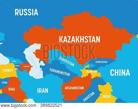 Central Asia Map - 4 Bright Color Scheme. High Detailed Political Map Of Central Asian Region With C