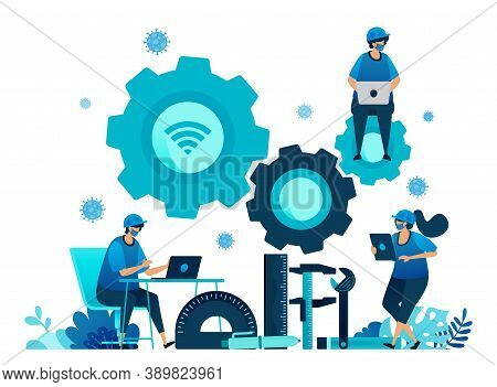 Vector Illustration Of Vocational Education Scholarships And E-learning To Support Human Resources D